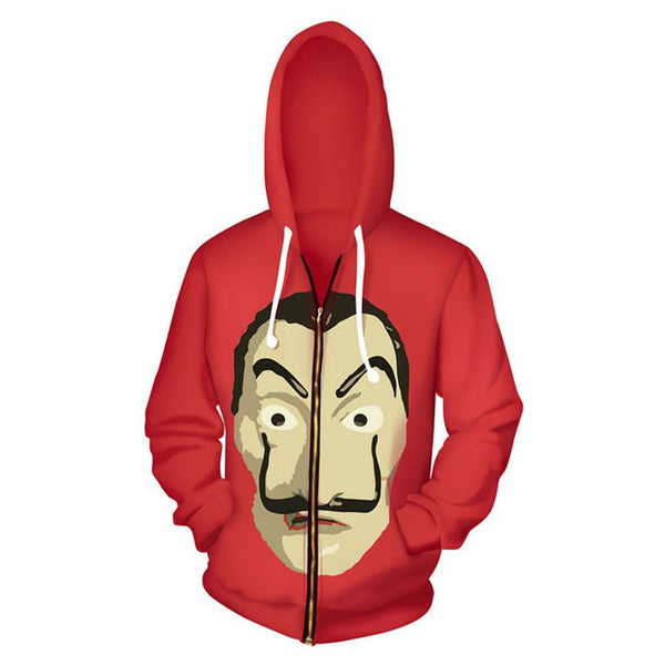 Unisex La Casa De Papel Hoodies Dali Printed Zip Up Jacket Sweatshirt