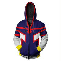 Unisex All Might Hoodies My Hero Academia Zip Up 3D Print Jacket Sweatshirt