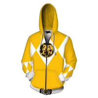 Unisex Yellow Ranger Hoodies Power Rangers Zip Up 3D Print Jacket Sweatshirt