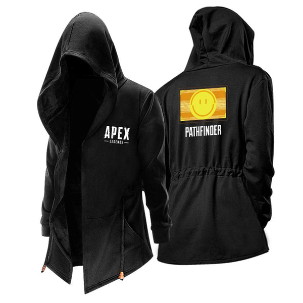 Unisex Apex Legends Hooded Coat Pathfinder Smiling Face Zip Up Thick Solid Fleece Outwear Wind Jacket