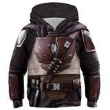 Kids Star Wars Hoodie The Mandalorian Cosplay Hooded Pullover Sweatshirt Cosplay Costume