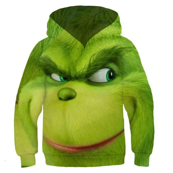 Kids How the Grinch Stole Christmas 3D Printing Hooded Pullover Hoodies Sweatshirt Tops