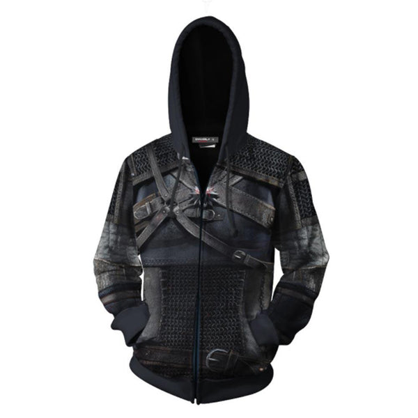 Unisex Geralt Hoodies The Witcher 3: Wild Hunt Zip Up 3D Print Jacket Sweatshirt