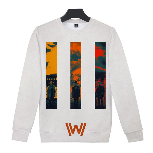 Unisex Westworld Crewneck Sweatshirts Front Side Print Graphics Long Sleeves Hip Hop Top
