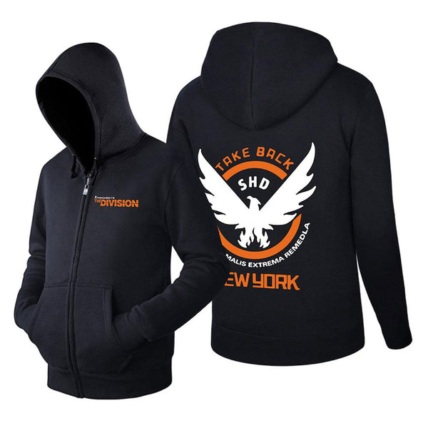 Unisex Vedio Game Hoodies Tom Clancy's The Division Zip Up 3D Print Jacket Sweatshirt