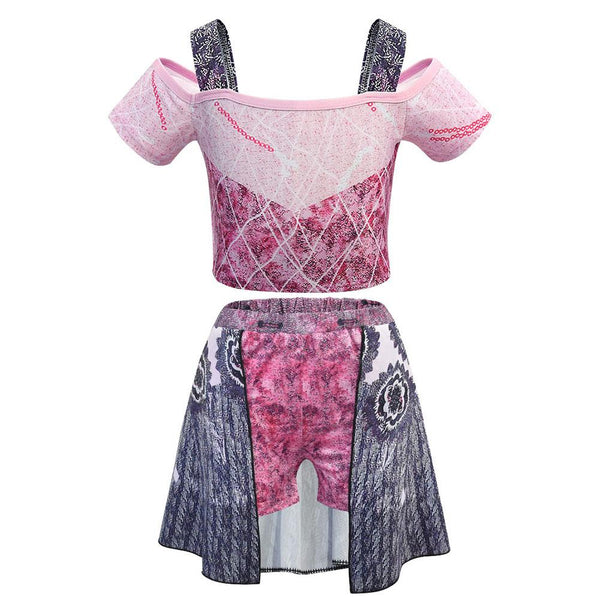 Kids Girls Swimsuit Descendants 3 Evil Audrey Cosplay Costume Fancy Dress Tops Skirt Swimwear