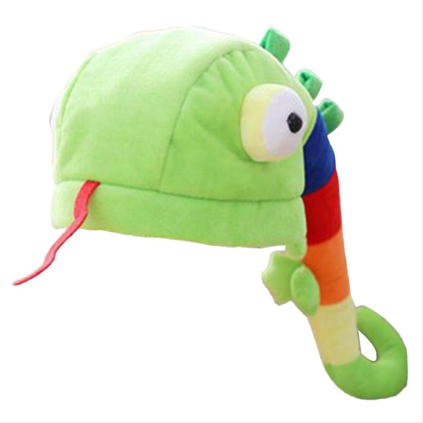 Plush Chameleon Hat Cap Costume Fuzzy Furry Animal Hats Party Photo Booth Props for Kids and Adults