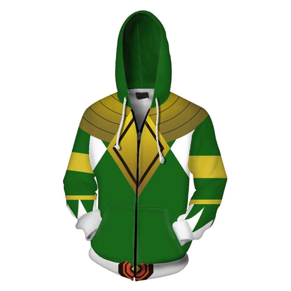 Unisex Green Ranger Hoodies Power Rangers Zip Up 3D Print Jacket Sweatshirt