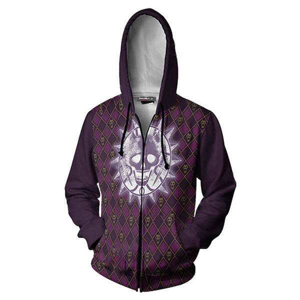 Unisex JoJo's Bizarre Adventure Hoodies KILLER QUEEN Printed Zip Up Jacket Sweatshirt