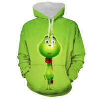 Unisex How the Grinch Stole Christmas 3D Printing Hooded Long Sleeve Sweatshirt Pullover Hoodies