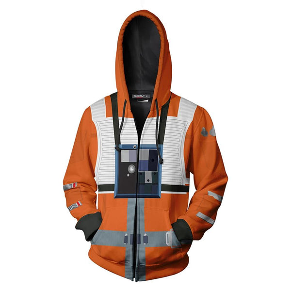Unisex Poe Dameron Hoodies Star Wars: The Rise of Skywalker Zip Up 3D Print Jacket Sweatshirt