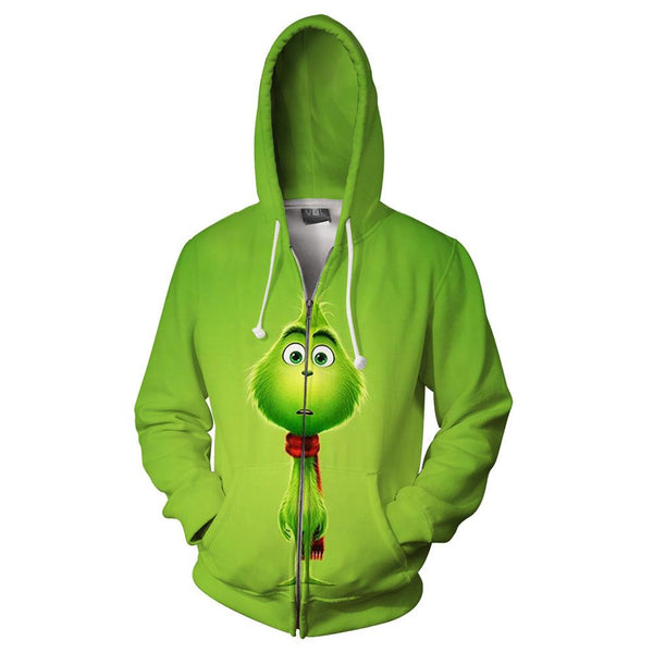 Unisex How the Grinch Stole Christmas 3D Printing Hooded Long Sleeve Sweatshirt Zip Up Hoodies