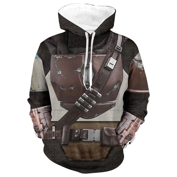 Unisex Star Wars Hoodie The Mandalorian Cosplay Hooded Pullover Sweatshirt Cosplay Costume