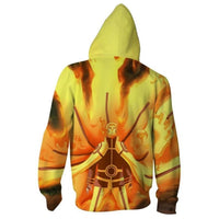 Unisex Naruto Hooded Coat Uzumaki Naruto Zip Up Long Sleeve Hoodies Jacket