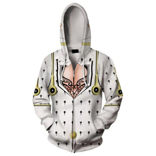 Unisex Bruno Bucciarati Hoodies JoJo's Bizarre Adventure Golden Wind Zip Up 3D Print Jacket Sweatshirt
