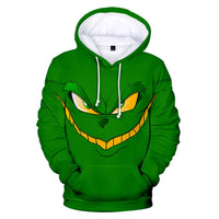 Kids Hoodie How the Grinch Stole Christmas Grinch Face Printed Pullover Sweatshirt