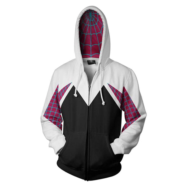 Spider Gwen Superhero 3D Style Zipper Hooded Sweatshirt Unisex Adult