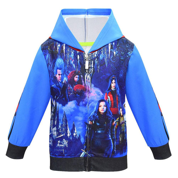 Kids Descendants 3 Long Sleeve Hooded Jacket Coat 3D Printed Party Cosplay Costume