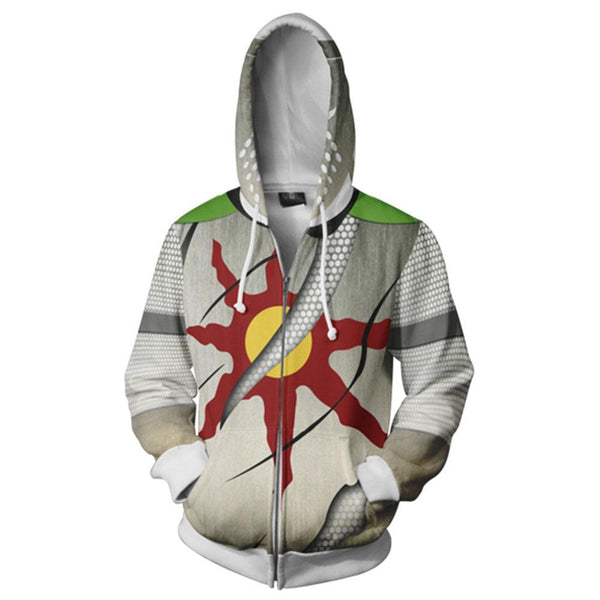 Unisex Solaire of Astora Hoodies Dark Souls Zip Up 3D Print Jacket Sweatshirt