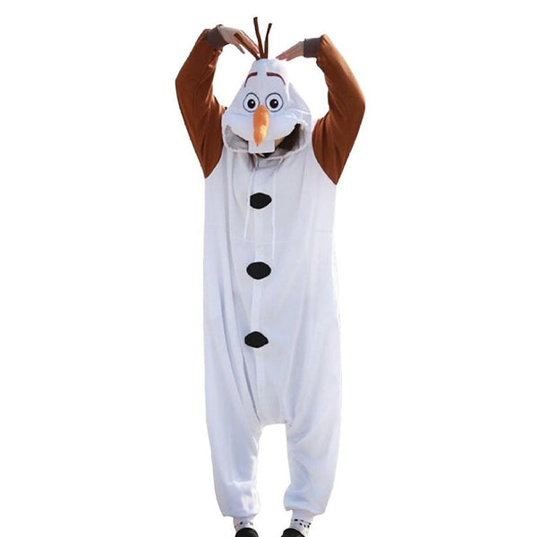 Frozen 2 Olaf Onesie Pajamas Warm Hooded Homewear Jumpsuits Unisex Cartoon Clothing Romper Sleepwear