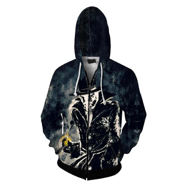 Watchmen Hoodie Movie Sweatshirt Unisex 3D Print Rorschach Zip Up Hooded Sweatshirt
