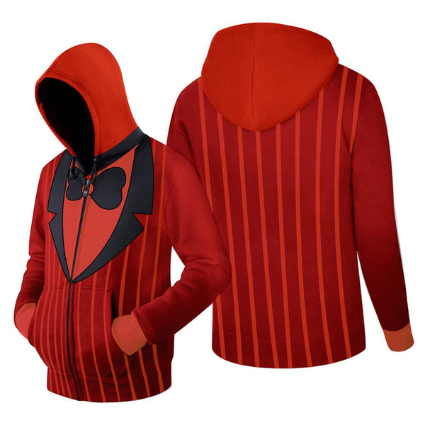 Unisex ALASTOR Hoodies Hazbin Hotel Zip Up 3D Print Jacket Sweatshirt