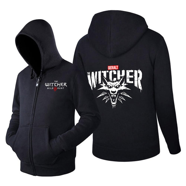 Unisex Vedio Game Hoodies The Witcher 3: Wild Hunt Printed Zip Up Jacket Casual Sweatshirt