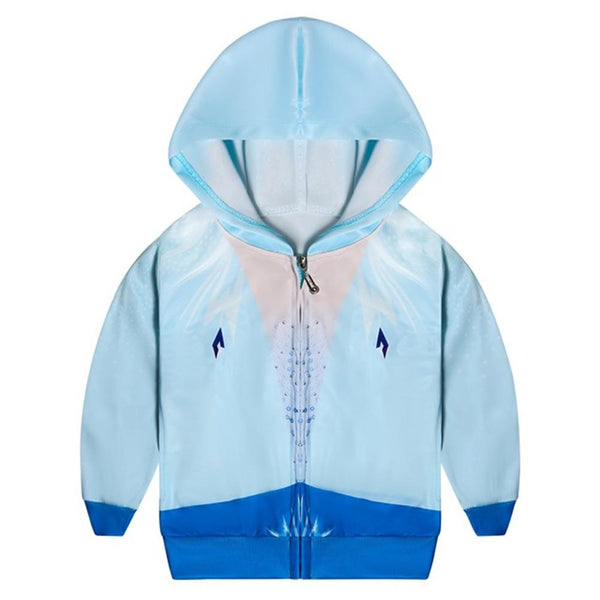 Kids Frozen Hoodie Princess Elsa Cosplay Hooded Zip Up Sweatshirt Cosplay Costume