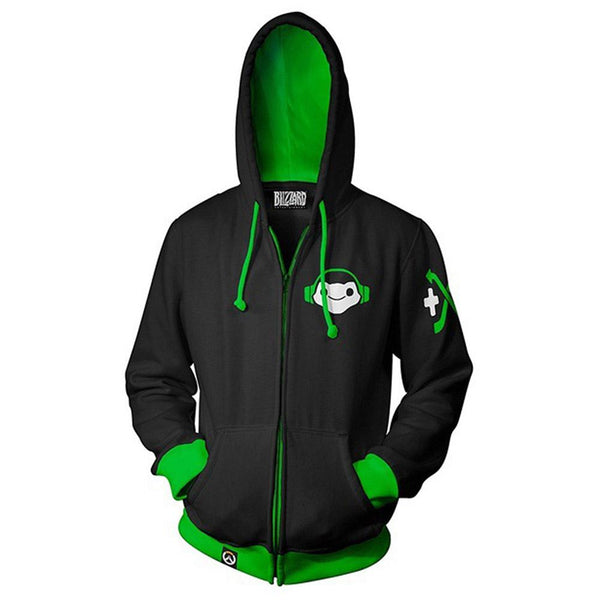 Unisex Lúcio Hoodies Overwatch Zip Up 3D Print Jacket Sweatshirt