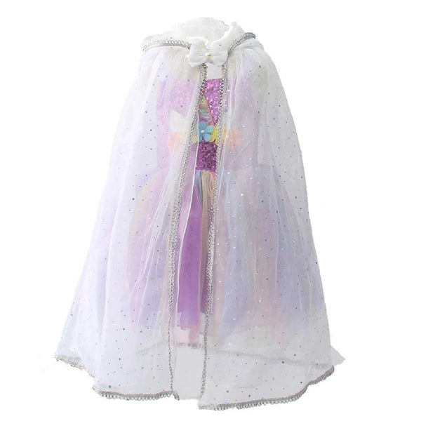 Kids Girls Princess Costume Tulle Cape Fairy Tales Sheer Hooded Cloak Fancy Dress Summer Sun Protection Long Cloak Shawl
