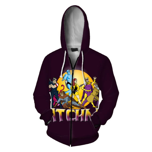 Unisex Men Women Sweatshirt 3D Digital Printing Watchmen Hoodie Zip Up with Pockets