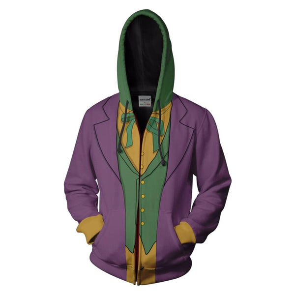 Teen Hoodie Batman Arkham Asylum Joker Zip-Up Sweatshirt Unisex