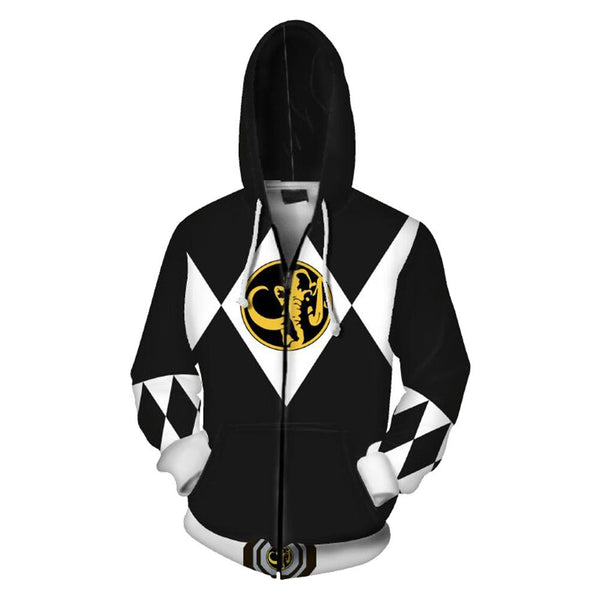 Unisex Black Ranger Hoodies Power Rangers Zip Up 3D Print Jacket Sweatshirt