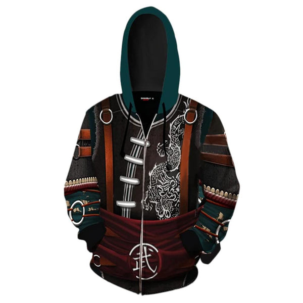Unisex Kung Lao Hoodies Mortal Kombat Zip Up 3D Print Jacket Sweatshirt