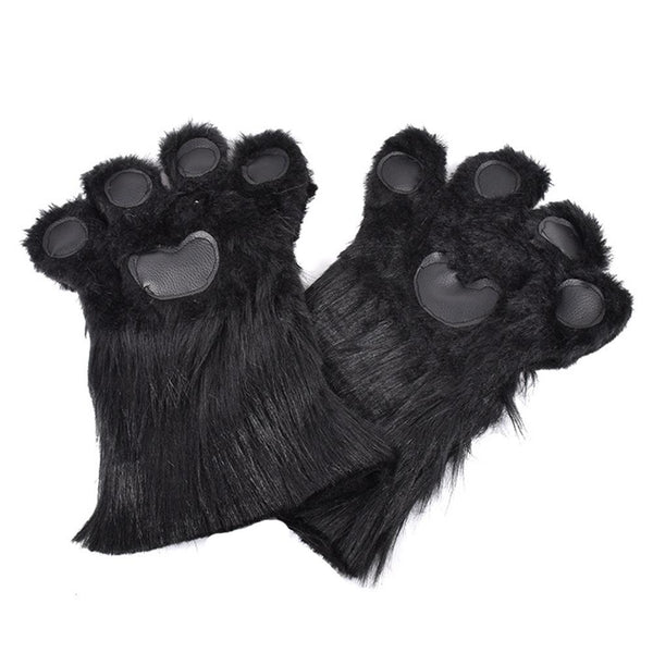 Black Furry Bear Paws Gloves Costume Props Winter Warm Plush Paw Claw Animal Gloves
