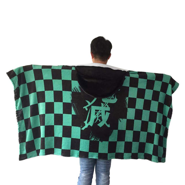 Anime Demon Slayer: Kimetsu no Yaiba Kamado Tanjirou Nezuko Cosplay Flannel Cloak Siesta Air Condition Blanket Shawl Coat Cape
