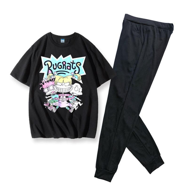 Women Rugrats Cosplay Short Sleeve Shirt & Long Pants Set Summer 2 Pieces Casual Clothes