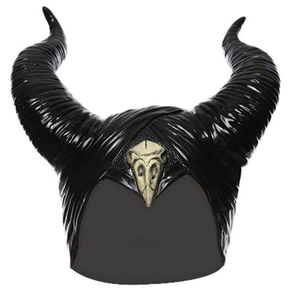 Maleficent Horns Black Latex Helmet Maleficent Mistress of Evil Mask Halloween Cosplay Props