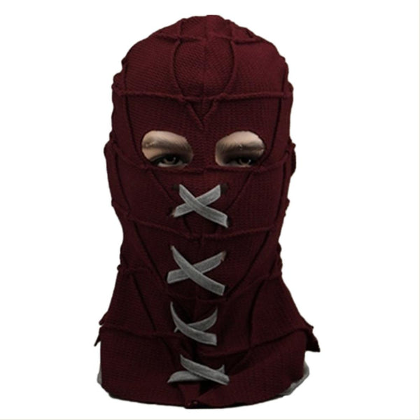 Halloween BrightBurn Cosplay Mask Knitted Scary Red Breathable Full Head Hood Accessory Props