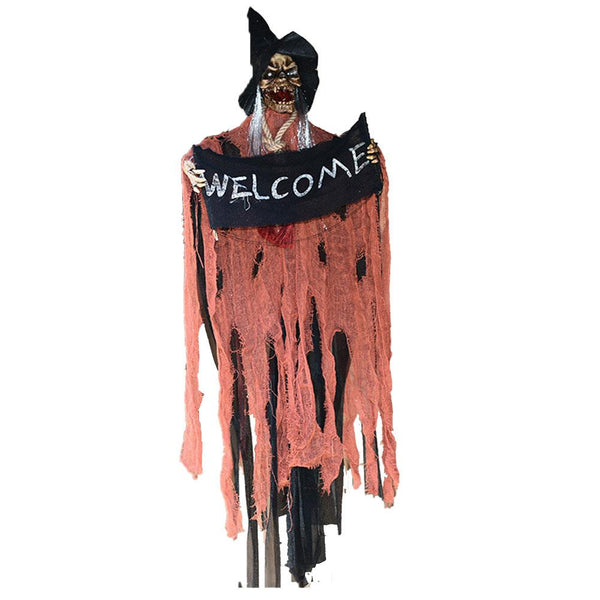 Halloween Hanging Witch Ornaments Ghost Voice Control Touch Props Haunted House Bar Scene Layout Decorations