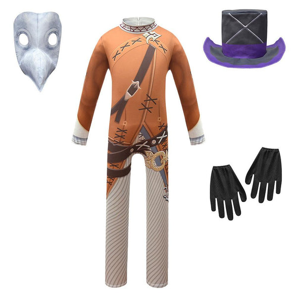 Kids Steampunk Plague Doctor Bird Beak Long Nose Cosplay Jumpsuit Halloween Party Event Ball Child Props