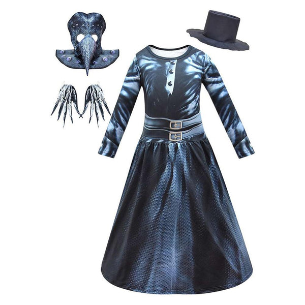 Kids Medieval Steampunk Plague Doctor Cosplay Costumes Halloween Party Dress Up Costume