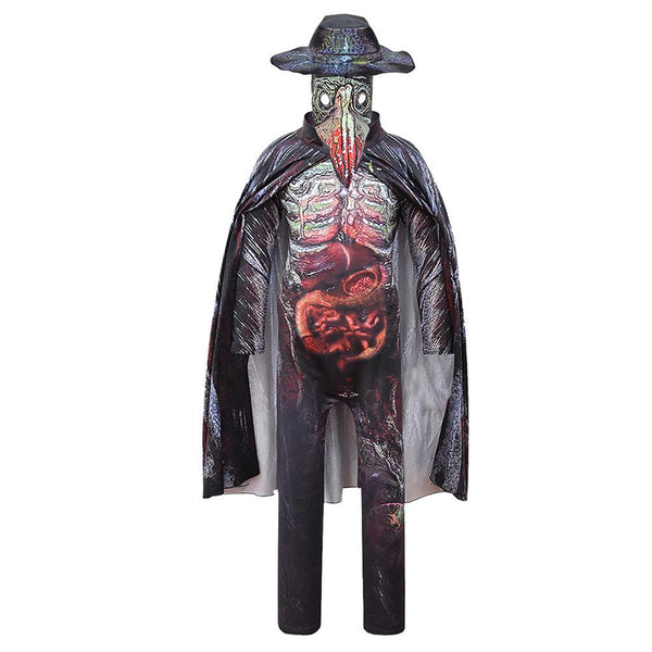 Kids Plague Doctor Cosplay Zentai Suit Medieval Steampunk Children Jumpsuit Outfit Halloween Carnival Suit