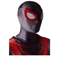 Men 2020 New Spider-Man Miles Morales Cosplay Costume Hooded Lycra Spandex Jumpsuit Halloween Costume