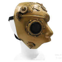 Half Face Steampunk Cosplay Mask Soft Latex Retro Punk Mechanical Parts Halloween Masquerade Costume Props