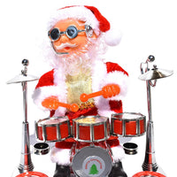 Musical Santa Claus with Drum Dancing and Singing Santa Figure Christmas Figurine Battery Operated
