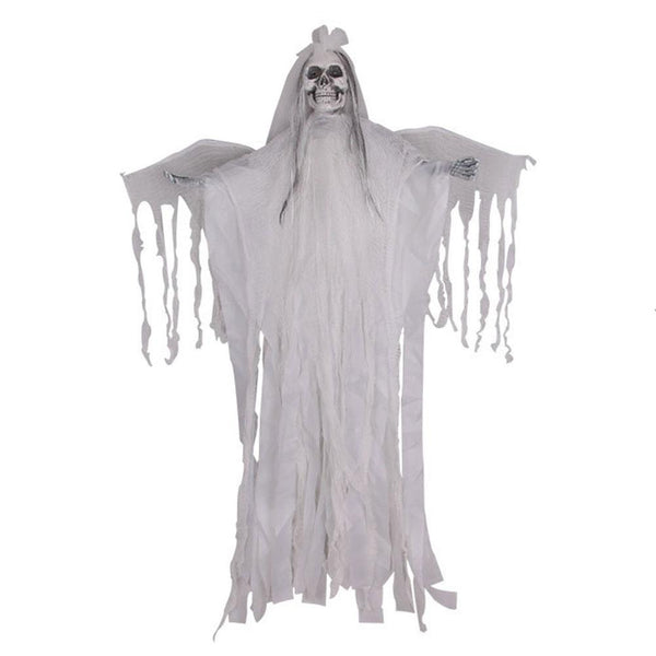 Halloween Horror Sound Ghost Scary Hanging Ghost Skull Head Haunted House Creepy White Demon Voice Control Prank Props