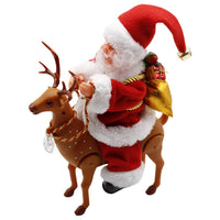 Creative Cute Electric Riding Deer Christmas Santa Claus Funny Music Riding Santa Toy Home Festival Ornament Gift