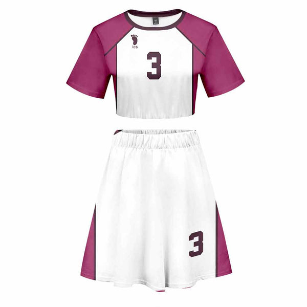 Women Haikyuu!! Semi Eita 2 Pieces Cosplay Outfits Short Sleeves Crop Top + A Line Skirt Sets