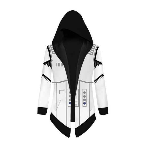 Unisex Star Wars Cosplay Jacket Trench Coat Robe Imperial Stormtrooper Cloak Halloween Costume Hooded Cape Coat